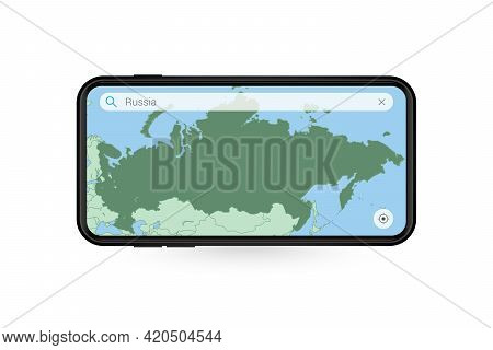 Searching Map Of Russia In Smartphone Map Application. Map Of Russia In Cell Phone. Vector Illustrat