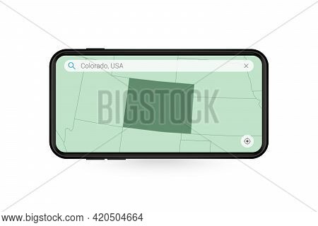 Searching Map Of Colorado In Smartphone Map Application. Map Of Colorado In Cell Phone. Vector Illus