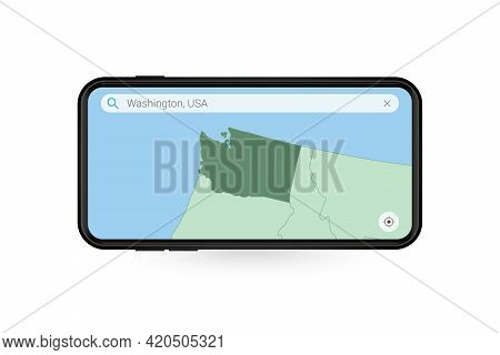 Searching Map Of Washington In Smartphone Map Application. Map Of Washington In Cell Phone. Vector I