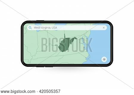 Searching Map Of West Virginia In Smartphone Map Application. Map Of West Virginia In Cell Phone. Ve