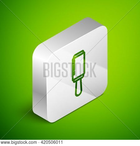 Isometric Line Adhesive Roller For Cleaning Clothes Icon Isolated On Green Background. Getting Rid O