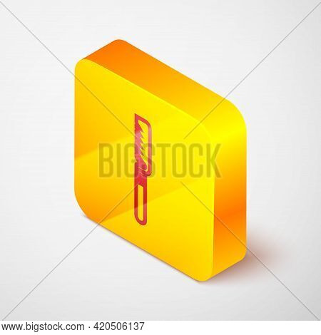 Isometric Line Medical Saw Icon Isolated On Grey Background. Surgical Saw Designed For Bone Cutting