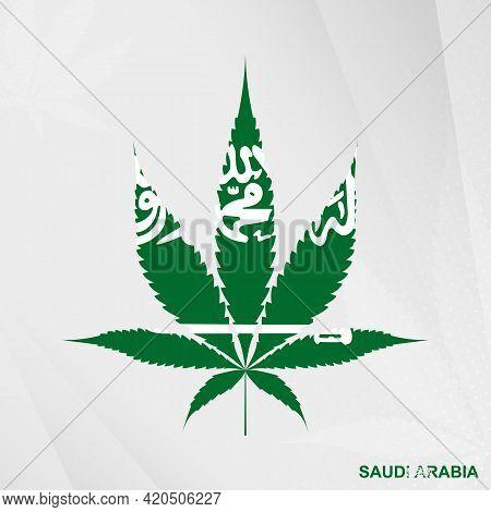 Flag Of Saudi Arabia In Marijuana Leaf Shape. The Concept Of Legalization Cannabis In Saudi Arabia.