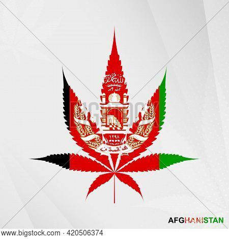 Flag Of Afghanistan In Marijuana Leaf Shape. The Concept Of Legalization Cannabis In Afghanistan. Me