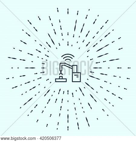 Black Line Industrial Machine Robotic Robot Arm Hand Factory Icon Isolated On Grey Background. Indus