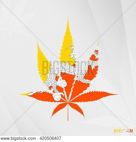 Flag Of Bhutan In Marijuana Leaf Shape. The Concept Of Legalization Cannabis In Bhutan. Medical Cann