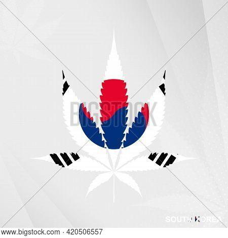 Flag Of South Korea In Marijuana Leaf Shape. The Concept Of Legalization Cannabis In South Korea. Me