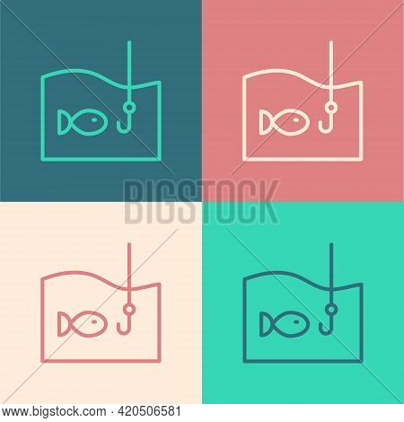 Pop Art Line Fishing Hook Under Water With Fish Icon Isolated On Color Background. Fishing Tackle. V