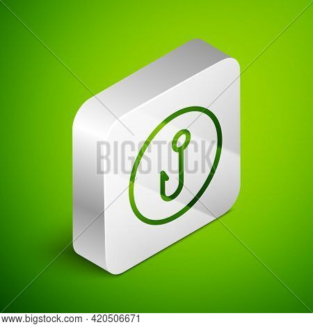 Isometric Line Fishing Hook Icon Isolated On Green Background. Fishing Tackle. Silver Square Button.