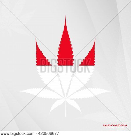 Flag Of Indonesia In Marijuana Leaf Shape. The Concept Of Legalization Cannabis In Indonesia. Medica