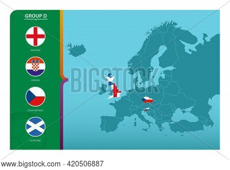 Map Of Europe With Marked Maps Of Countries Participating In Group D Of The European Football Tourna