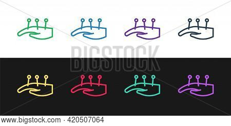 Set Line Acupuncture Therapy On The Hand Icon Isolated On Black And White Background. Chinese Medici