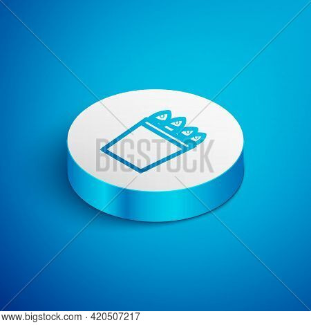Isometric Line Fishing Bucket With Fishes Icon Isolated On Blue Background. Fish In A Bucket. White