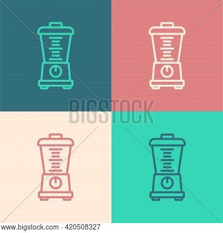 Pop Art Line Blender Icon Isolated On Color Background. Kitchen Electric Stationary Blender With Bow