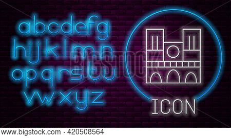 Glowing Neon Line Landmark Of France Notre Dame De Paris Icon Isolated On Brick Wall Background. Neo