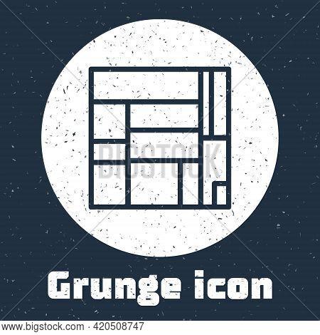 Grunge Line House Edificio Mirador Icon Isolated On Grey Background. Mirador Social Housing By Mvrdv