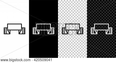 Set Line Traditional Ukrainian Embroidered Towel Icon Isolated On Black And White Background. Vector