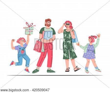 Family With Children Going Shopping And Carrying Bags With Purchases, Cartoon Vector Illustration Is