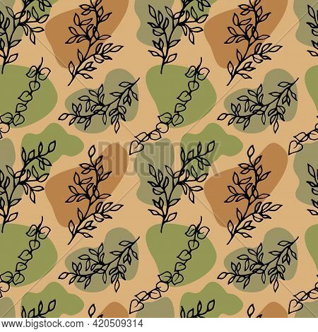 Abstract Seamless Pattern With Gravel And Tree Branches In Doodle Style. Random Geometric Pebble . S