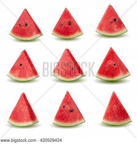 Slice Of Ripe Red Watermelon Slice Isolated On A White Background