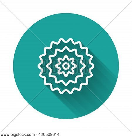 White Line Bicycle Cassette Mountain Bike Icon Isolated With Long Shadow. Rear Bicycle Sprocket. Cha
