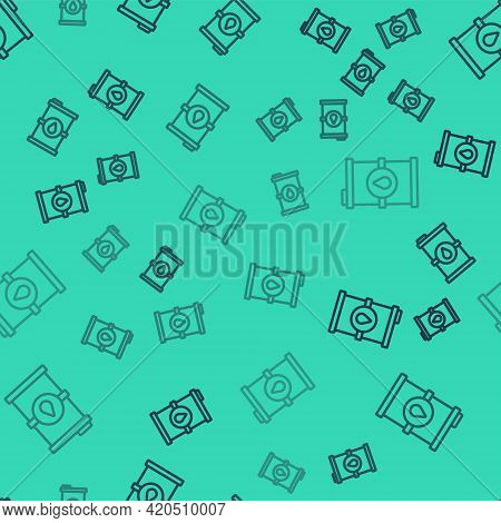 Black Line Bio Fuel Barrel Icon Isolated Seamless Pattern On Green Background. Eco Bio And Canister.