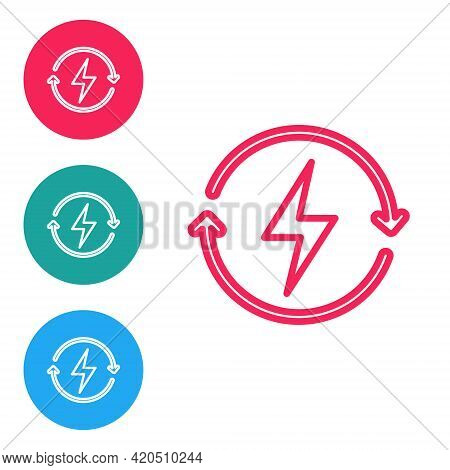 Red Line Recharging Icon Isolated On White Background. Electric Energy Sign. Set Icons In Circle But