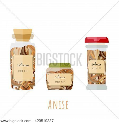 Three Different Glass Bottles With Dried Anise