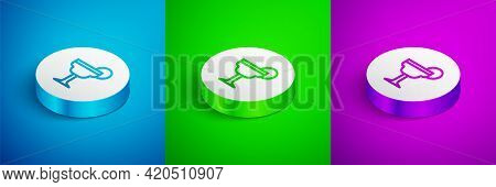 Isometric Line Margarita Cocktail Glass With Lime Icon Isolated On Blue, Green And Purple Background