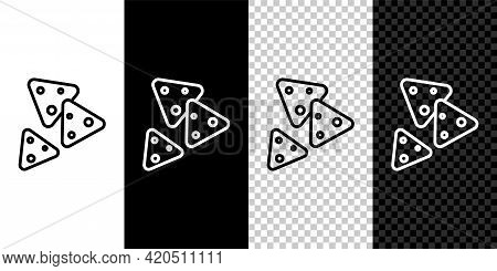 Set Line Nachos Icon Isolated On Black And White, Transparent Background. Tortilla Chips Or Nachos T
