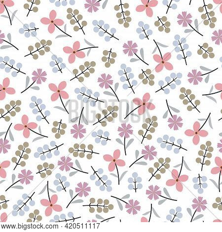 Stylish Ornamental Abstract Doddle Floral Vector Seamless Pattern Design For Textile And Printing. M