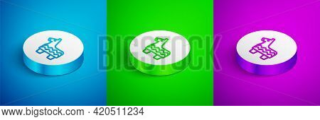 Isometric Line Pinata Icon Isolated On Blue, Green And Purple Background. Mexican Traditional Birthd