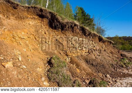 Outcrop Of Geological Rocks. The Bedrock Is Clay And Limestone Topped With Quaternary Deposits. Kalu