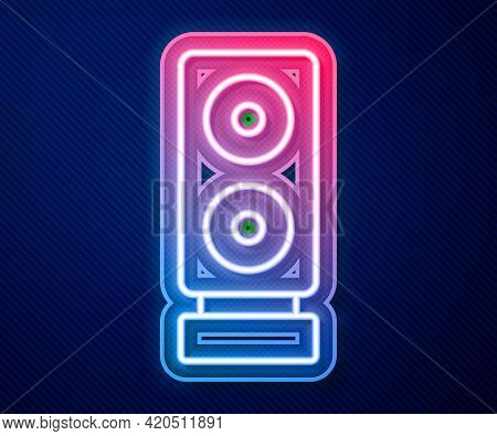Glowing Neon Line Stereo Speaker Icon Isolated On Blue Background. Sound System Speakers. Music Icon