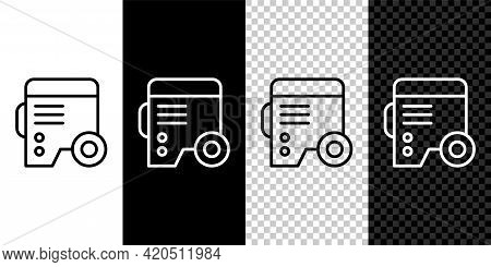 Set Line Portable Power Electric Generator Icon Isolated On Black And White, Transparent Background.