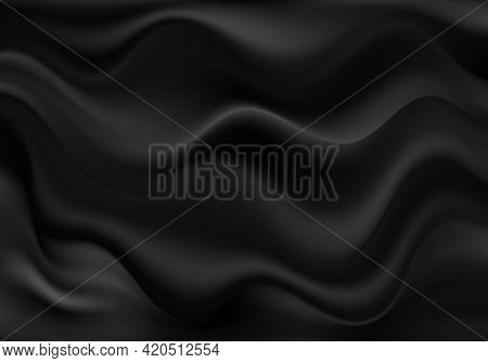 Abstract Luxurious Background Black Wavy Fabric Draped Silky Textile Decoration Poster, Banner Templ