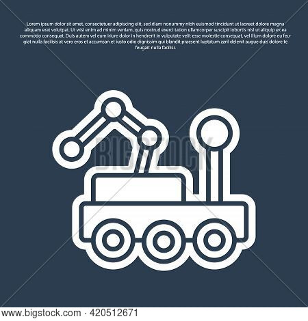 Blue Line Mars Rover Icon Isolated On Blue Background. Space Rover. Moonwalker Sign. Apparatus For S