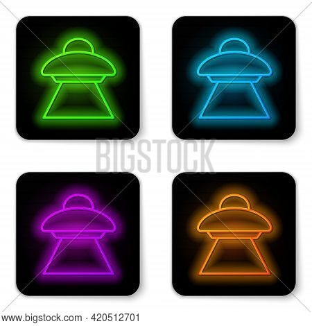 Glowing Neon Line Ufo Flying Spaceship Icon Isolated On White Background. Flying Saucer. Alien Space