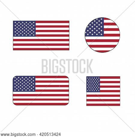 United States Vector Flag Icon Set The Stars And Stripes, Old Glory, And The Star-spangled Banner Fo