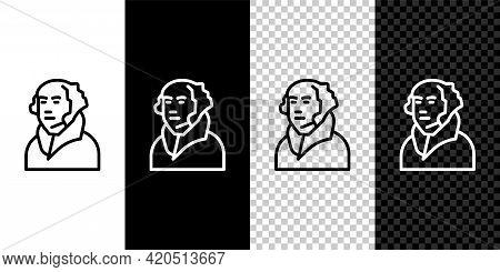 Set Line George Washington Icon Isolated On Black And White, Transparent Background. Vector
