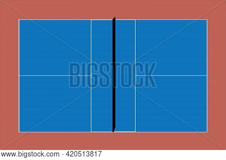 Recreational Sport Of Pickle-ball Court In Usa Looking At An Empty Blue Vector Court And Clay Backgr