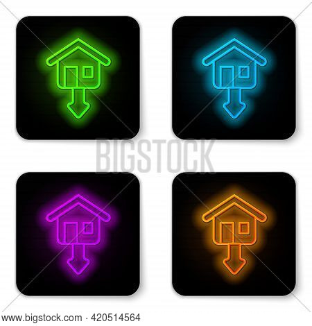 Glowing Neon Line Property And Housing Market Collapse Icon Isolated On White Background. Falling Pr