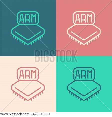 Pop Art Line Processor Icon Isolated On Color Background. Cpu, Central Processing Unit, Microchip, M