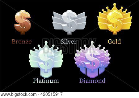 Game Rank Reward Dollar, Gold, Silver, Platinum, Bronze, Diamond Money 6 Steps Animation For Game.