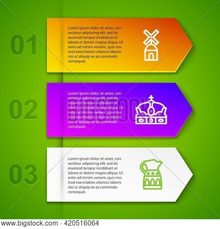 Set Line Windmill, Crown Of Spain, Sangria Pitcher And Castanets. Business Infographic Template. Vec