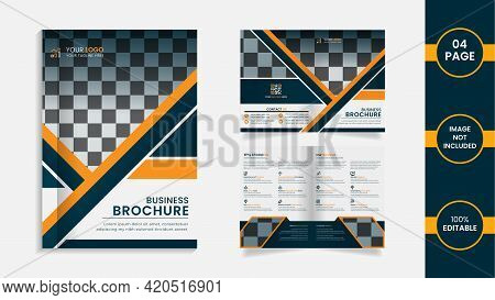 Modern 04 Page Bifold Company Brochure Design With Yellow And Deep Cyan Color Abstract Shapes And In