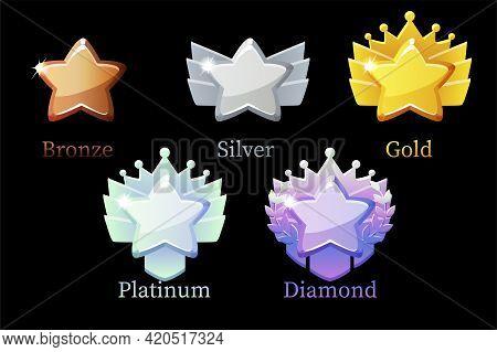 Game Rank Reward Star, Gold, Silver, Platinum, Bronze, Diamond Icons 6 Steps Animation For Game.