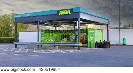 Swindon, Uk - May 11, 2021:  Asda Collection Point At West Swindon, Customers Can Order Online And C