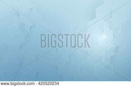 Abstract Blue Geometric Hexagon Background. Technology Digital Hi Tech With Healthcare Concept. Vect