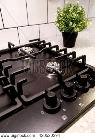 Modern Gas Stove Burner, Great Design For Any Purposes. Top View.